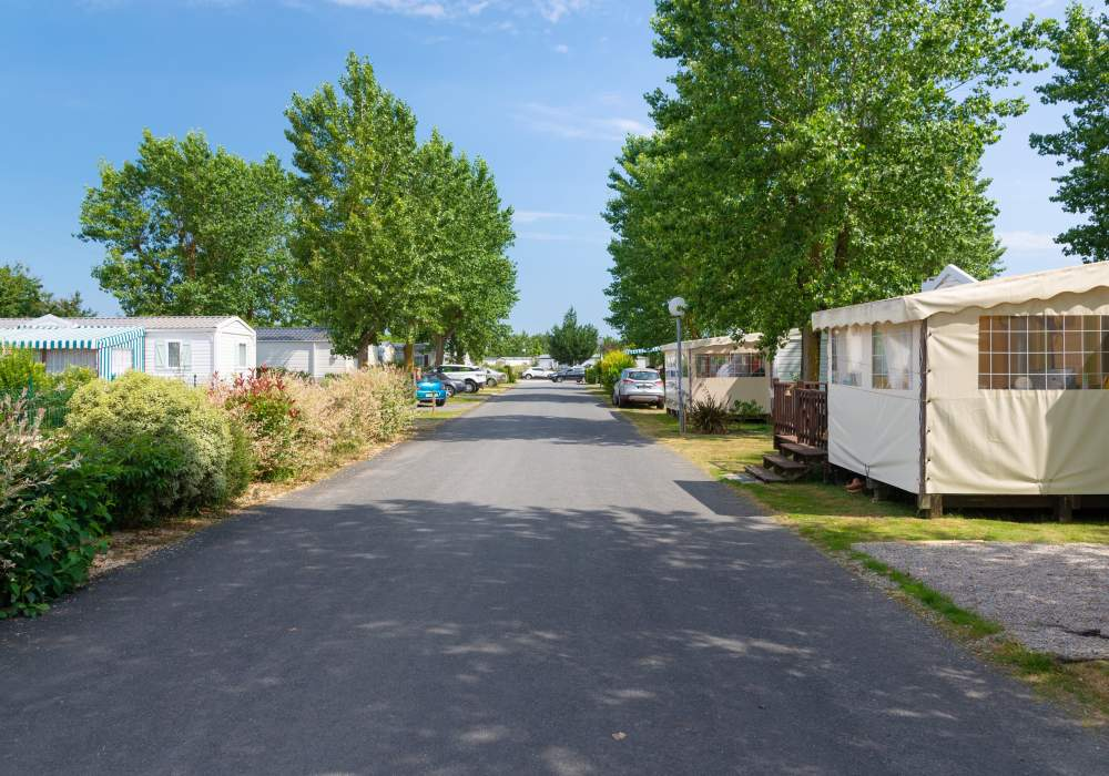 View of road between mobile homes